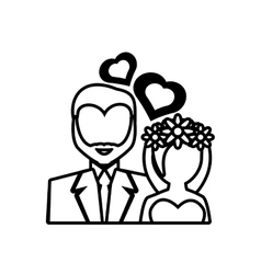 Pictogram bride and groom wedding heart design vector