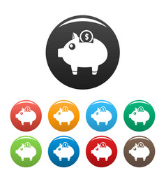 piggy bank icons set color vector image