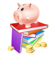 Piggy bank on books vector