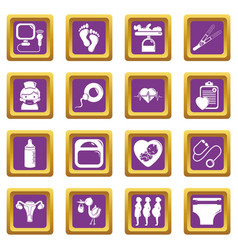 Pregnancy icons set purple square vector