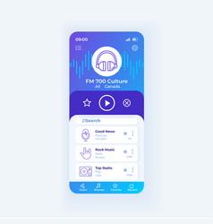 Radio application smartphone interface template vector