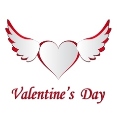 Red and white heart with wings cut on the isolated vector