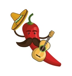 red hot chili pepper with mexican hat vector image