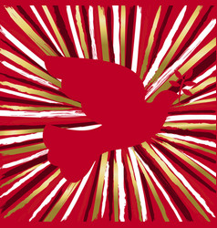 Red peace dove bird made of gold hand drawn brush vector