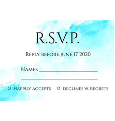 Rsvp 5x7 inches card template with hand painted vector