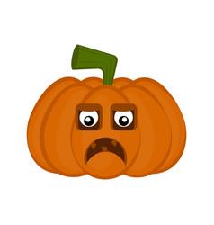 sad halloween pumpkin cartoon character vector image