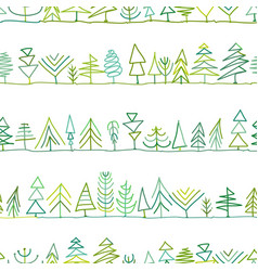seamless pattern with trees sketch for your vector image