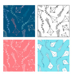 Seamless patterns of kites vector