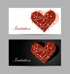 set horizontal banners with beauliful hearts vector image