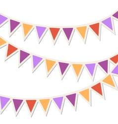 set multicolored flat buntings garlands vector image