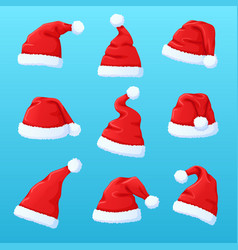 set of red santa claus hat new year cap vector image