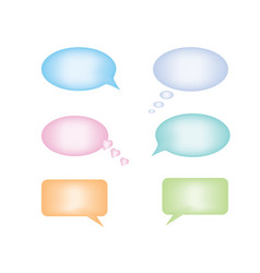 set of six plastic pastel color speech bubbles vector image
