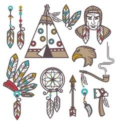 set wild west american indian designed elements vector image
