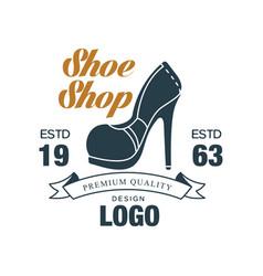 Shoe shop premium quality design logo estd 1963 vector