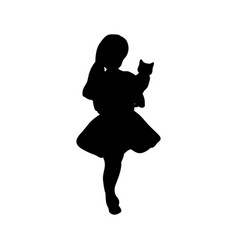 silhouette girl holding a cat vector image