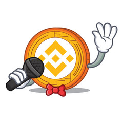 Singing binance coin mascot catoon vector