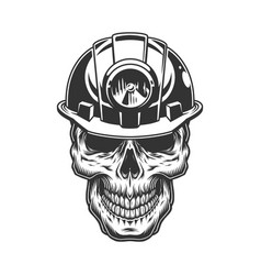 skull in the miner helmet vector image