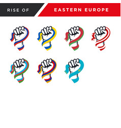Spirit rising fist hand eastern europe flag vector