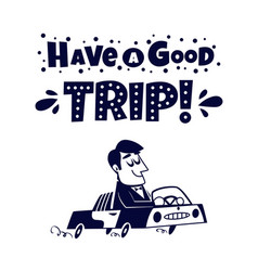 travel icon happy man traveling by car vector image