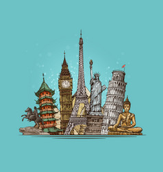 Travel journey concept famous world landmarks vector