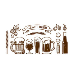 vintage beer set old wooden mug glasses opener vector image