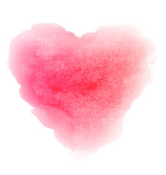 Watercolor pink hand drawn heart shaped stain vector