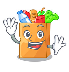 Waving food pouch bags isolated on mascot vector