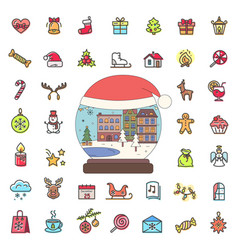 Winter city snowball and set xmas icons outline vector