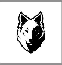 wolf bolt emblem mascot head silhouette sport vector image