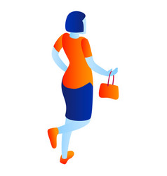 woman go to shop icon isometric style vector image