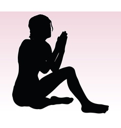 woman silhouette with hand gesture praying vector image