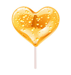 Yellow lollipop in the shape of a heart design vector