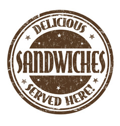 delicious sandwiches sign or stamp vector image vector image