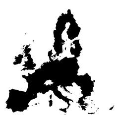 european union territory black silhouette isolated vector image