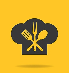Icon of Chef cook cap with fork spoon and fry vector image vector image