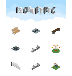isometric city set of swing attraction path seat vector image