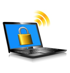 Laptop Protection Padlock vector image vector image