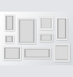 set of white realistic frames with shadow vector image vector image