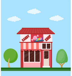 candy shop front view flat icon vector image vector image