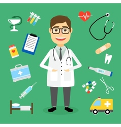 Doctor surrounded by medical icons vector image