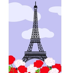 Eiffel tower with red and white roses vector image vector image