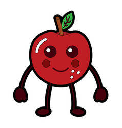 kawaii cute apple funny fruit vector image