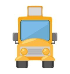 cartoon yellow school bus transport pupils vector image