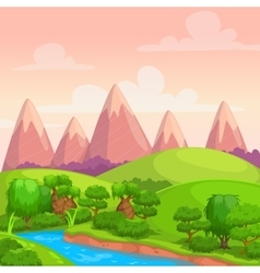 Cute bright sunny day landscape vector image vector image