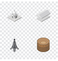 isometric architecture set of athens paris vector image