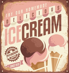 Retro ice cream tin sign design concept vector image vector image