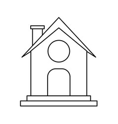 Small house with chimney icon image vector