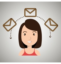 woman message email card vector image