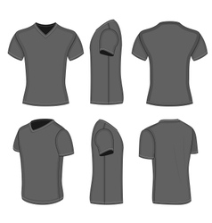All views mens black short sleeve v-neck t-shirt vector image vector image