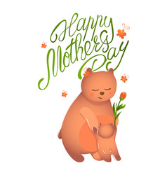 bear mom with her cub vector image vector image